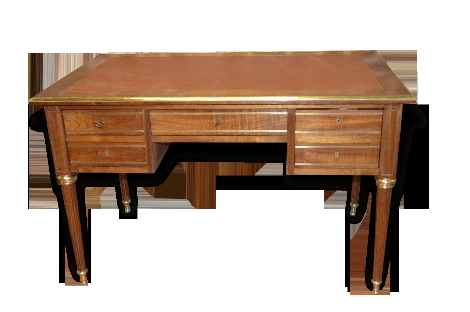 Bureau en acajou réhaussé de laiton bois matériau classique