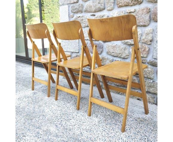 Trio de chaises plaintes bois années 60