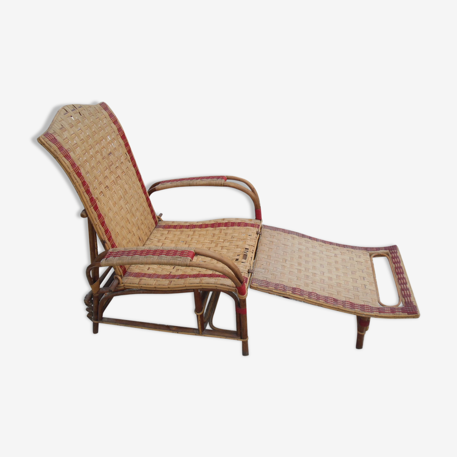 Fauteuil chaise longue en rotin