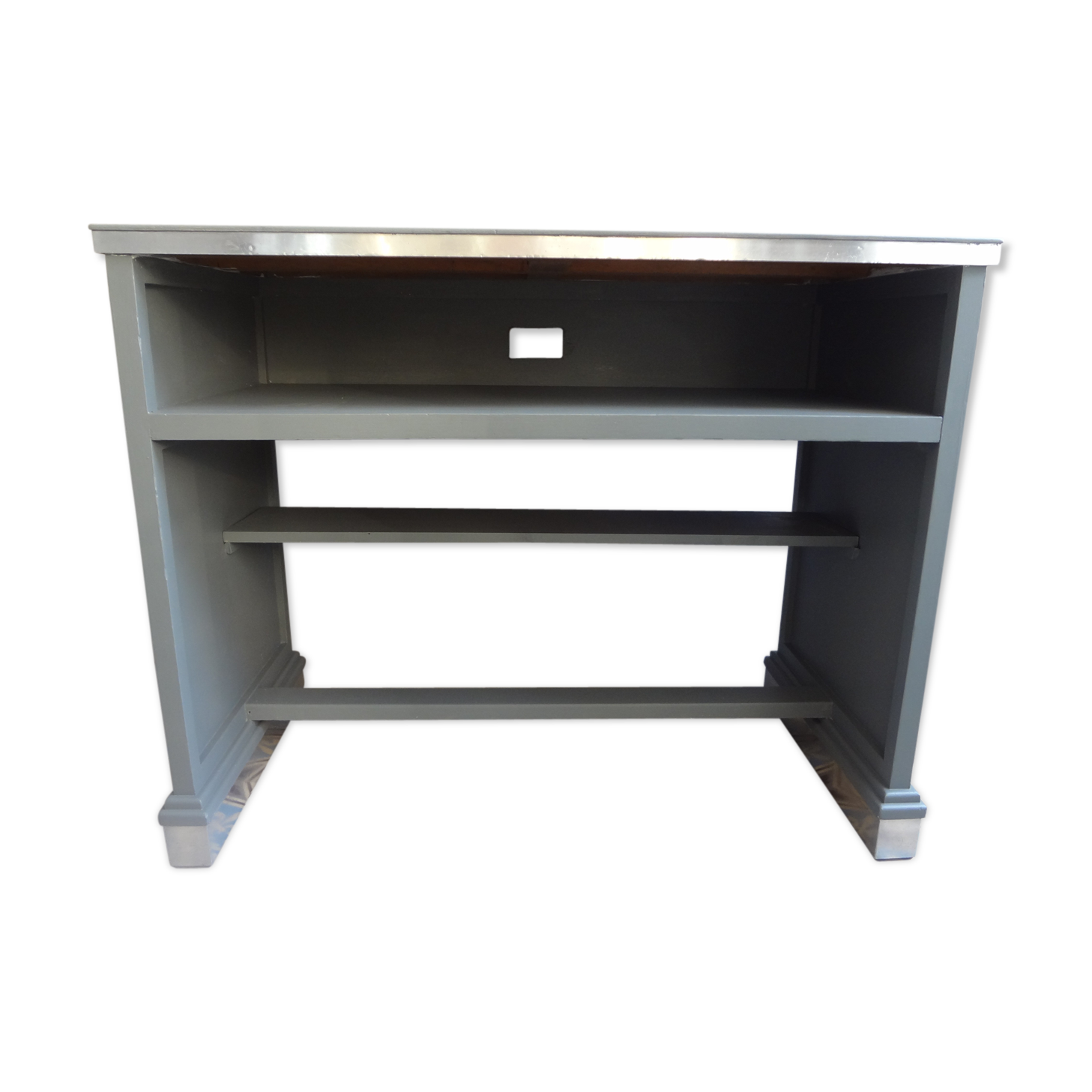 Bureau bois peint avec casier bois matériau gris classique