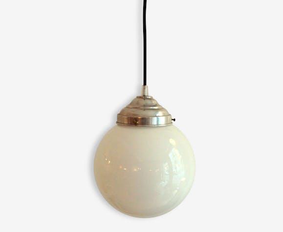Lampe Globe En Verre Boule Suspension Jour Ancienne Opaline Abat FK3Tc1lJ