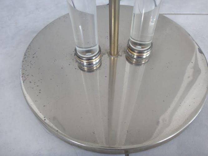 Lampadaire italien design 1980 plexiglass laiton
