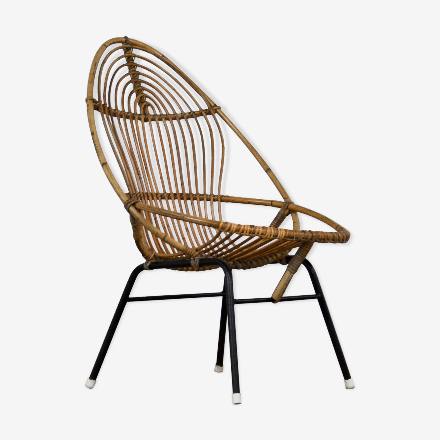 Armchair in rattan by Rohe Noordwolde, 1960 s