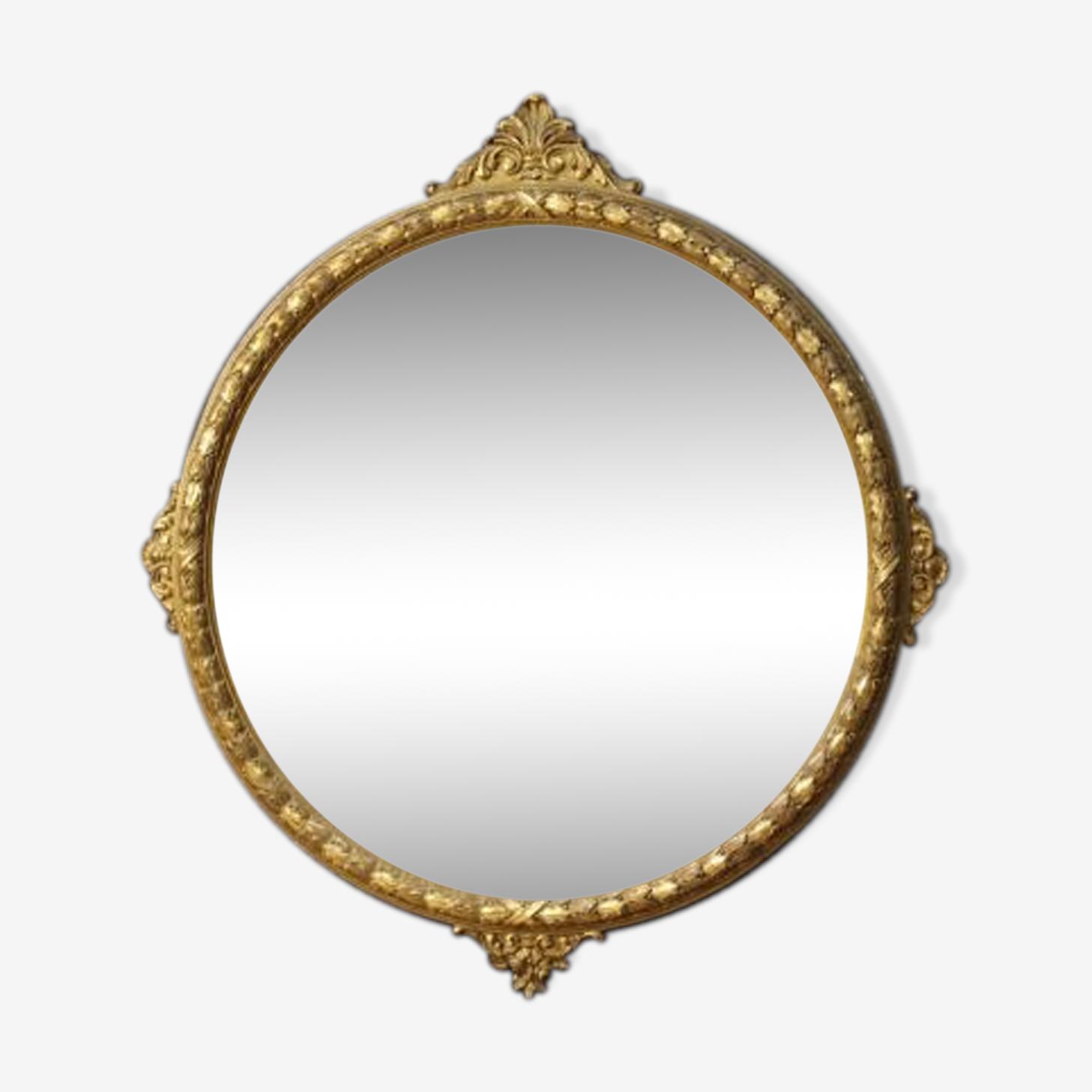 Miroir italien rond en bois doré 121x133cm