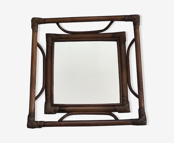 Miroir en rotin vintage 41x41cm