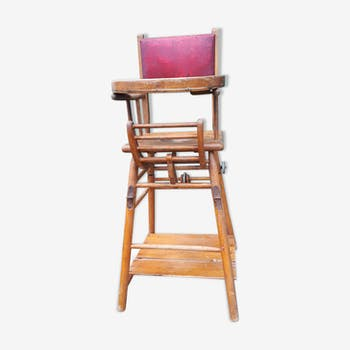 Chair high wood and leather 1948