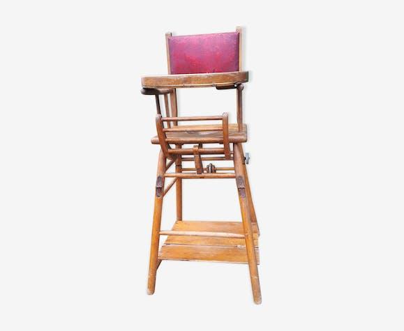 Chaise haute bois et cuir 1948