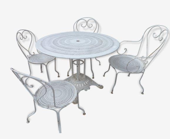 Ancien salon de jardin en fer et fonte table 2 fauteuils et ...