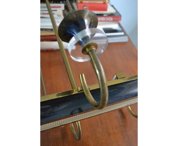 Lustre Art Déco rectangulaire 6 feux laiton doré
