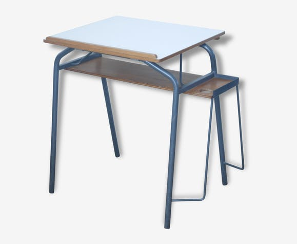 Bureau enfant adolescent table dessin inclinable vintage ann es 60 m tal blanc - Dessin annee 60 ...