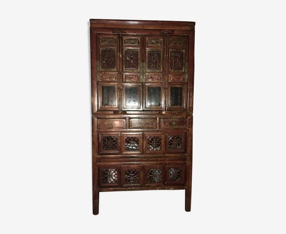 meuble chinois ancien dit garde manger bois mat riau. Black Bedroom Furniture Sets. Home Design Ideas