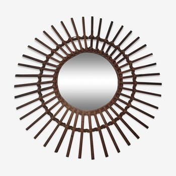 Sun mirror in rattan years 60 - 55x55cm