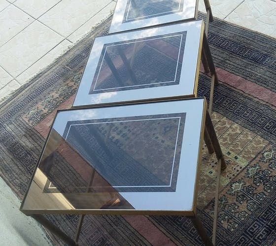 Tables gigognes en laiton 1970