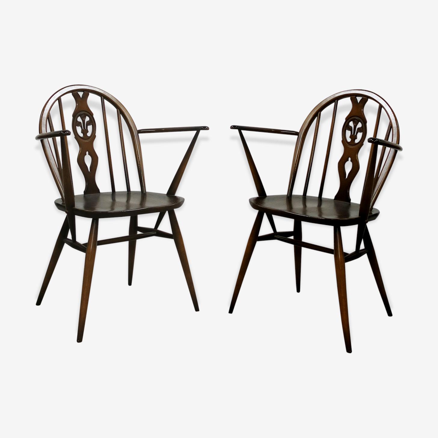 Paire de chaises de Windsor par Lucian Ercolani pour Ercol des années 70