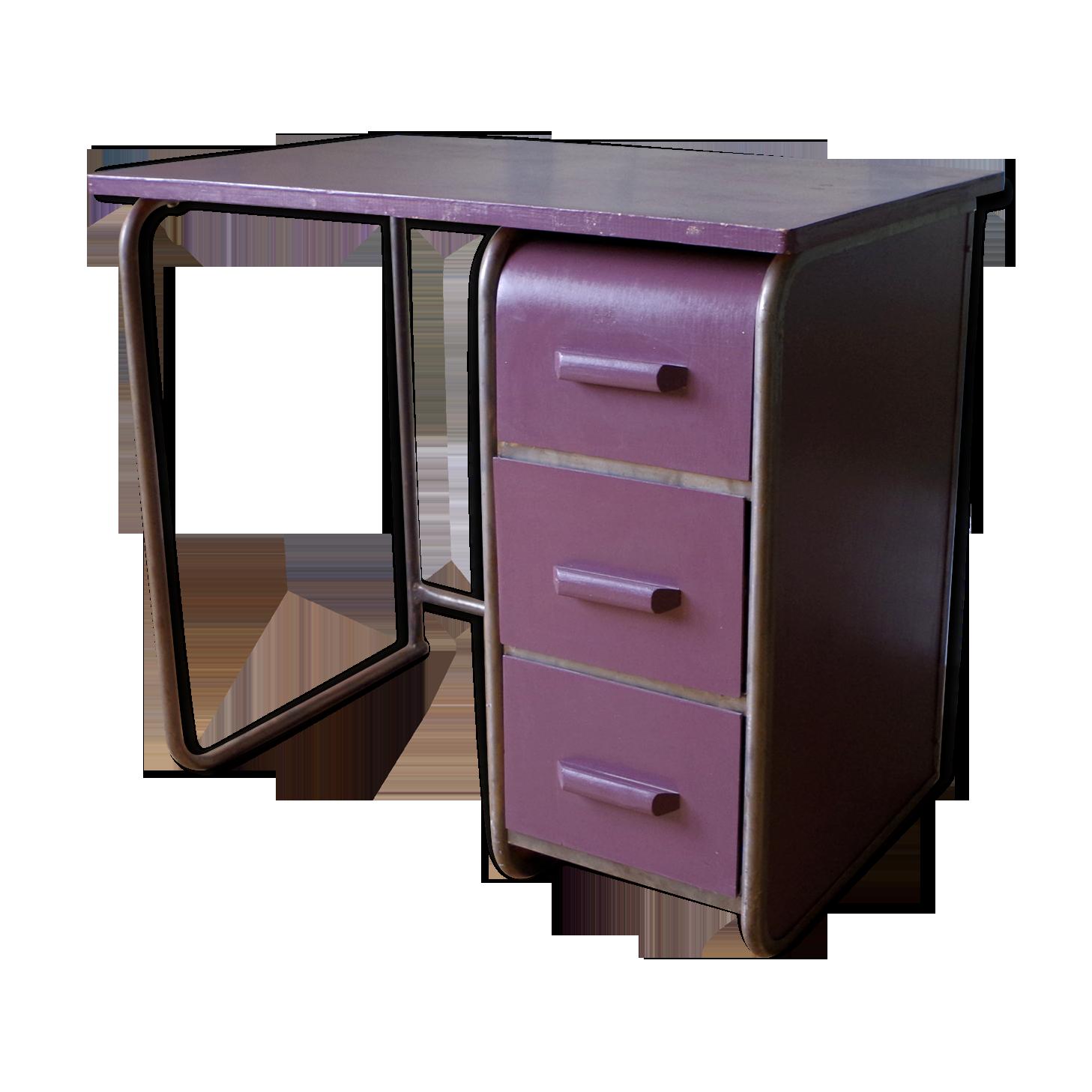 Bureau industriel en bois et métal bois matériau violet