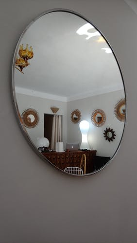 Barber round XXL mirror years 70 - 81x81cm