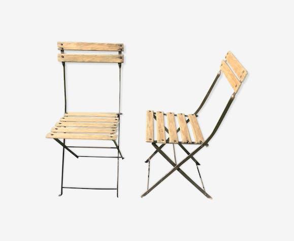 Lot de 2 chaises de jardin pliantes en métal et bois vintage