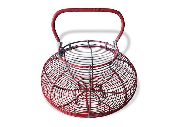 grand panier salade ufs ou escargots m tal rouge. Black Bedroom Furniture Sets. Home Design Ideas