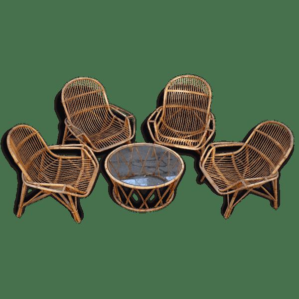 Salon de jardin, fauteuils et table en bambou et rotin naturel, vintage,  années 60 - rotin et osier - bon état - vintage - 51750