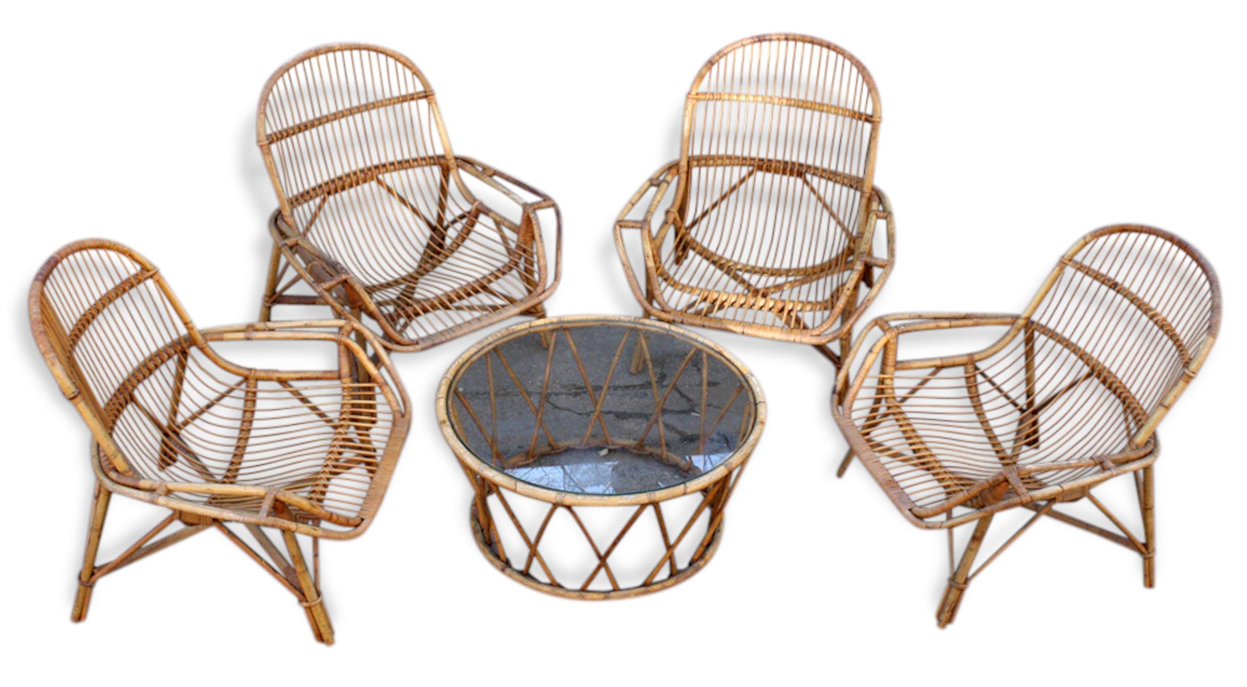 Salon de jardin, fauteuils et table en bambou et rotin naturel ...