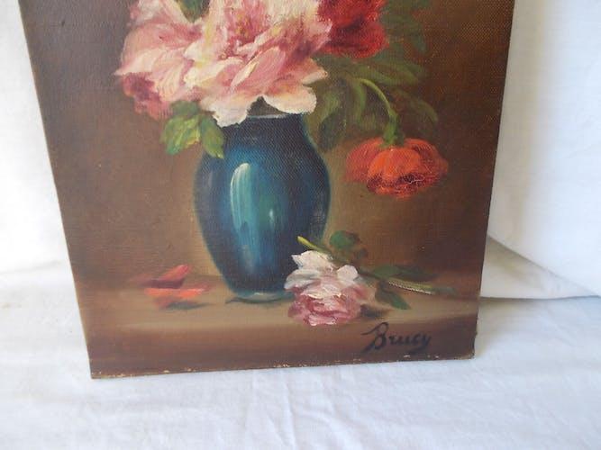 Tableau peinture huile sur toile bouquet de fleurs nature morte ancien