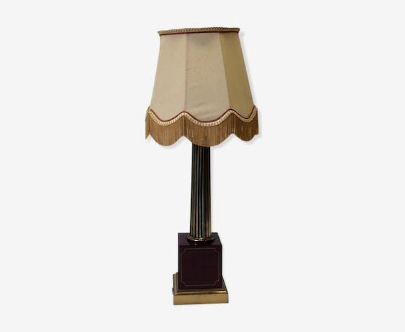 Lampe à poser tissu et pied laiton