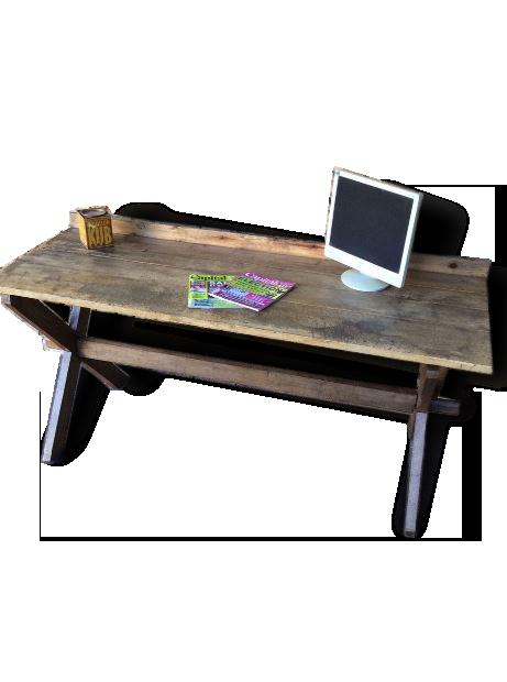 Bureau en bois ancien établi bois matériau marron