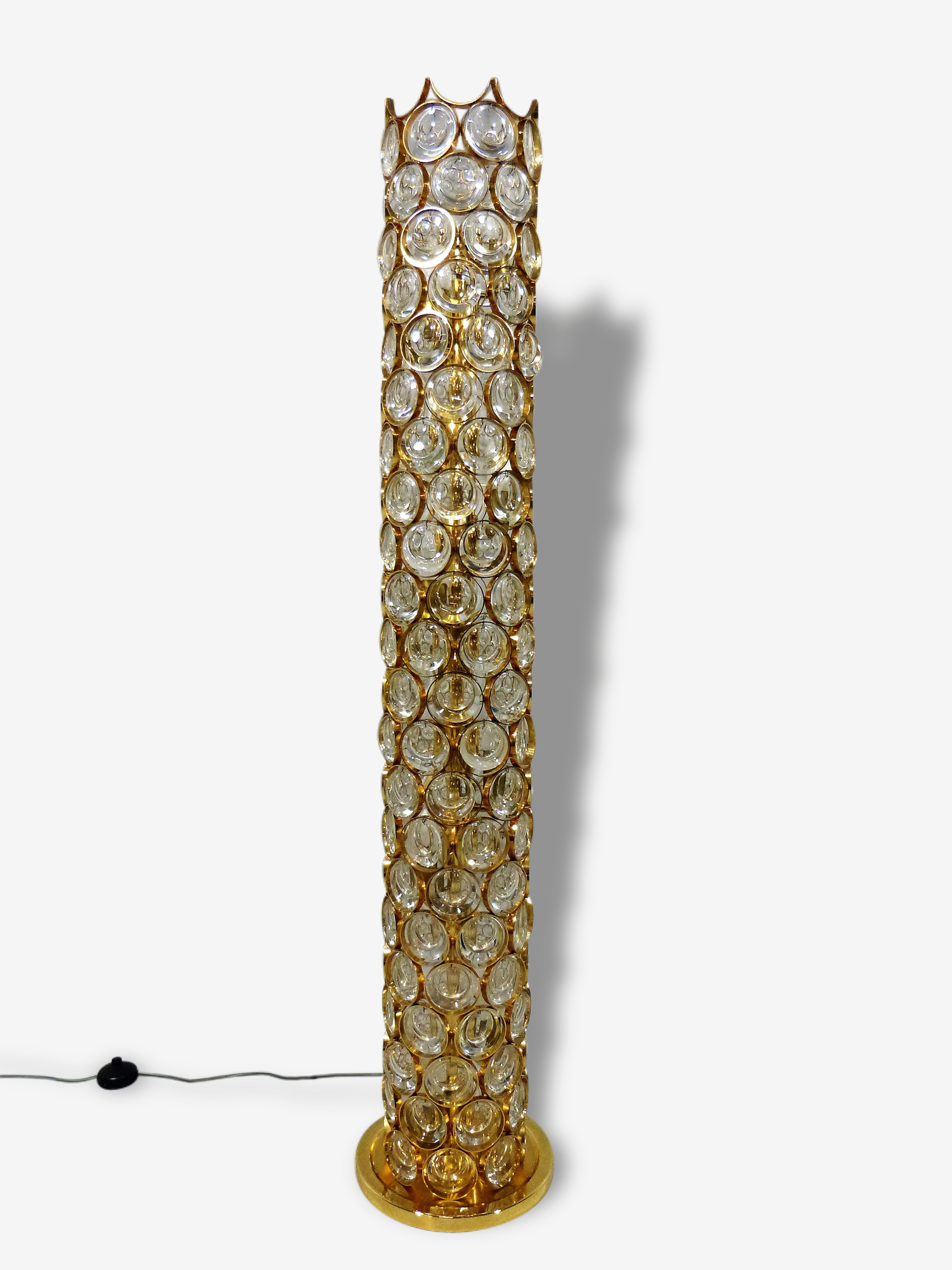 Big Palwa Floor Lamp Gilded Brass & Crystal