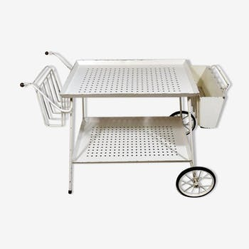 White perforated steel  serving cart and bed table in one, 1950's