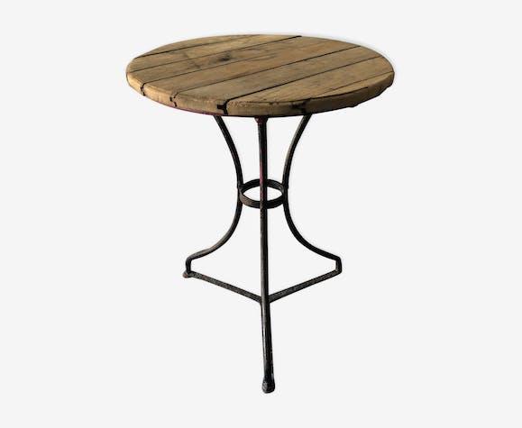 Table bistrot ancienne pour jardin - bois (Matériau) - bois ...