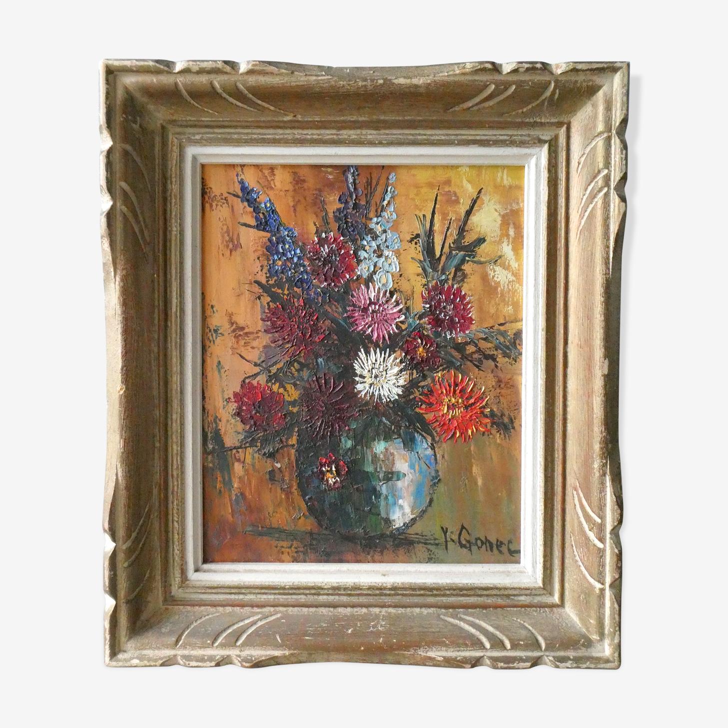 Tableau huile sur toile nature morte bouquet de fleurs milieu XXème