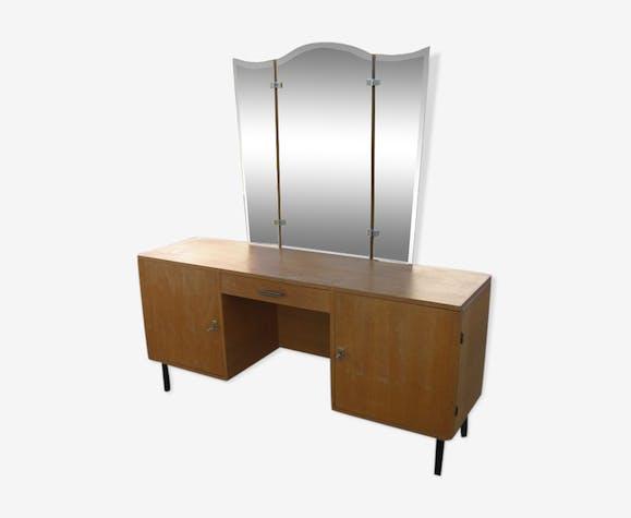 Coiffeuse & son miroir années 60 en bois et placage