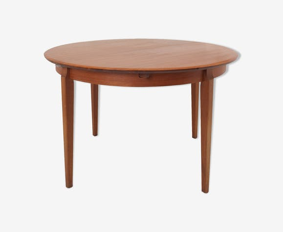 Table ronde 120 cm teck scandiave vintage 1960