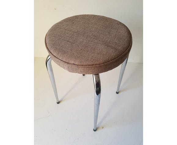 Set of 3 vintage stools in chrome