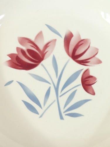 Plat rond creux badonviller fleur grise et rouge no digoin