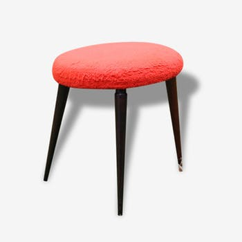 Stool 60s red synthetic fur