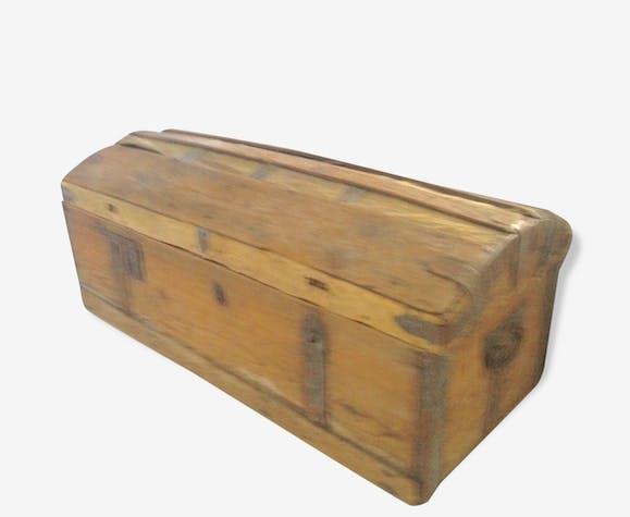 Grand coffre/malle en bois rustique - bois (Matériau) - bois ...