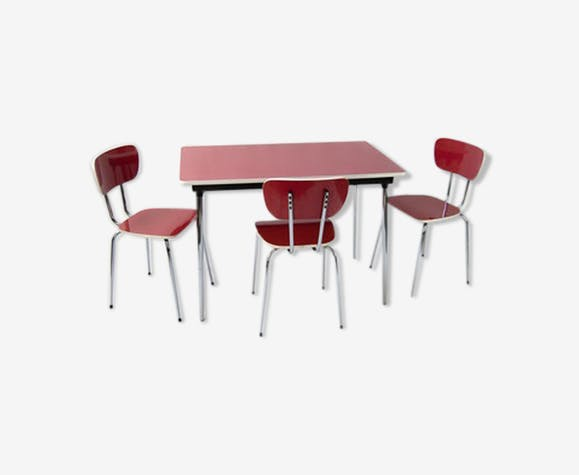 Table and chairs in formica years 1960