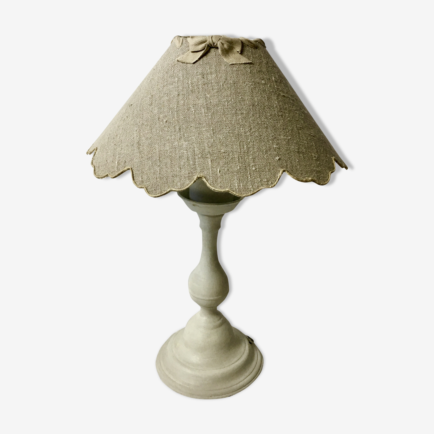 Lampe bougeoir patine gris clair shabby chic