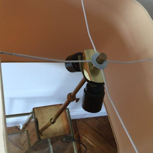 Lampe pied laiton section carrée avec abat jour carré