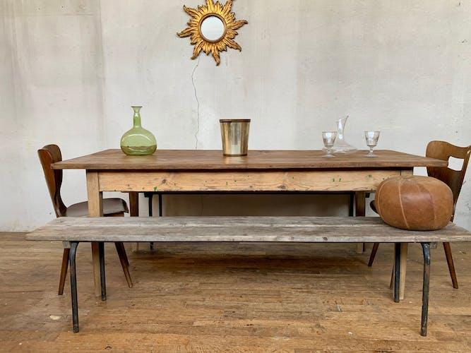 Table de ferme bistrot atelier début XXème en bois