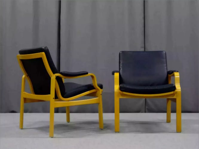 Paire de fauteuils cuir 1970