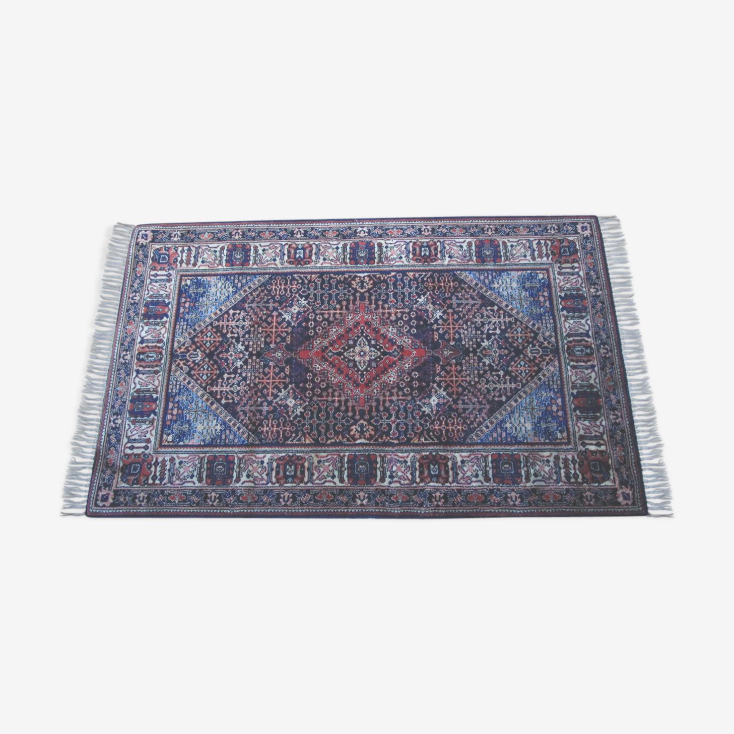 Tapis vintage bleu en laine noué 102 x 170 cm