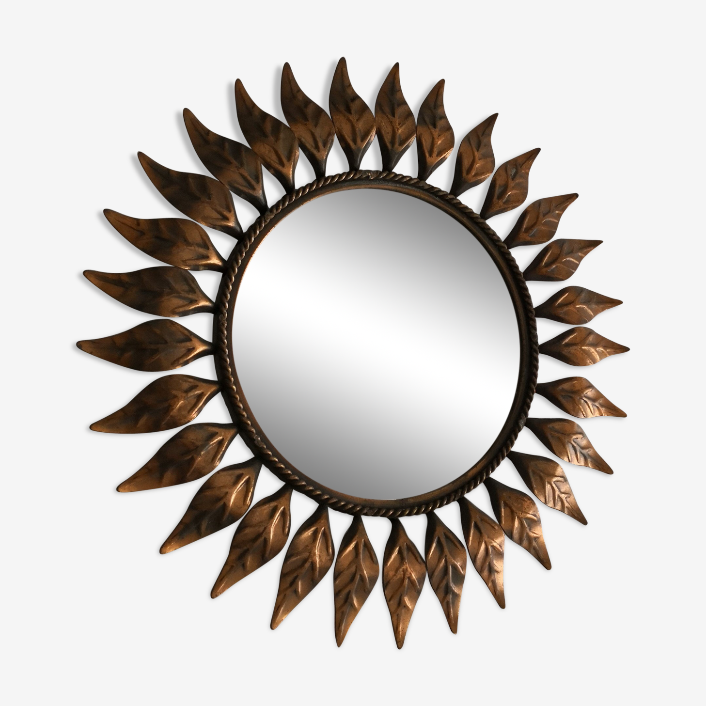 Miroir sorcière soleil des années 60/70 - 41x41cm