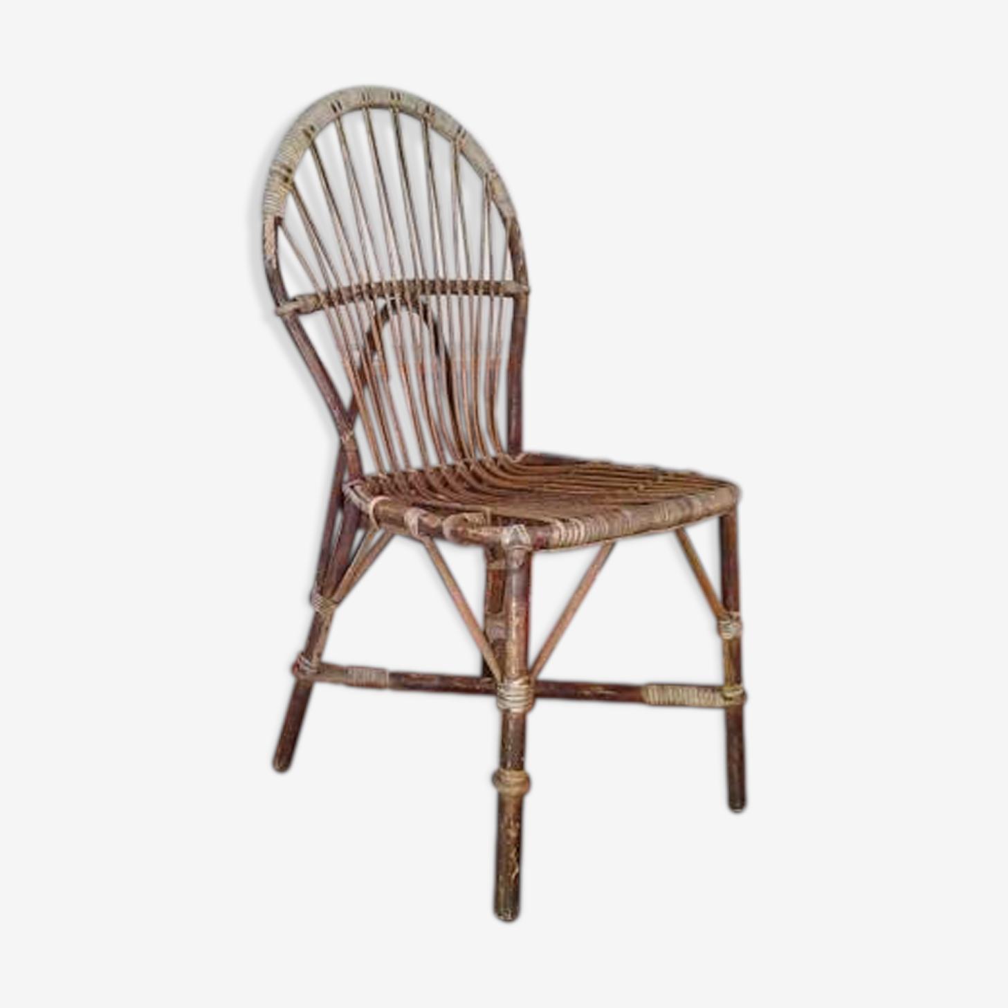 Chaise en bambou et rotin Audoux Minnet Golf Juan des années 50
