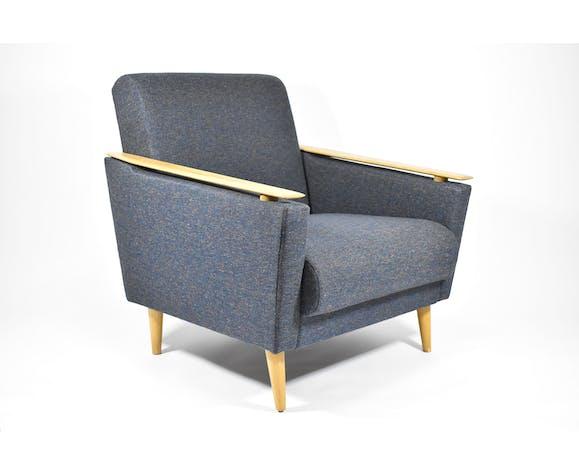 Fauteuil vintage, années 1960, rénové, restauré, bleu