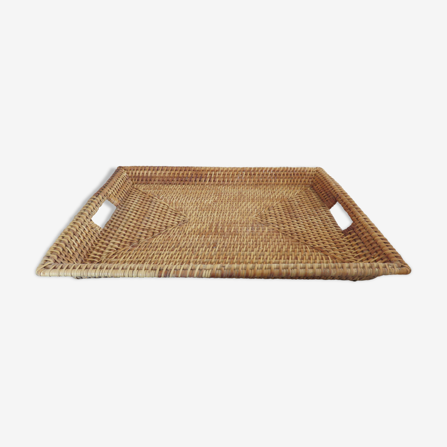 Tray with handles rattan