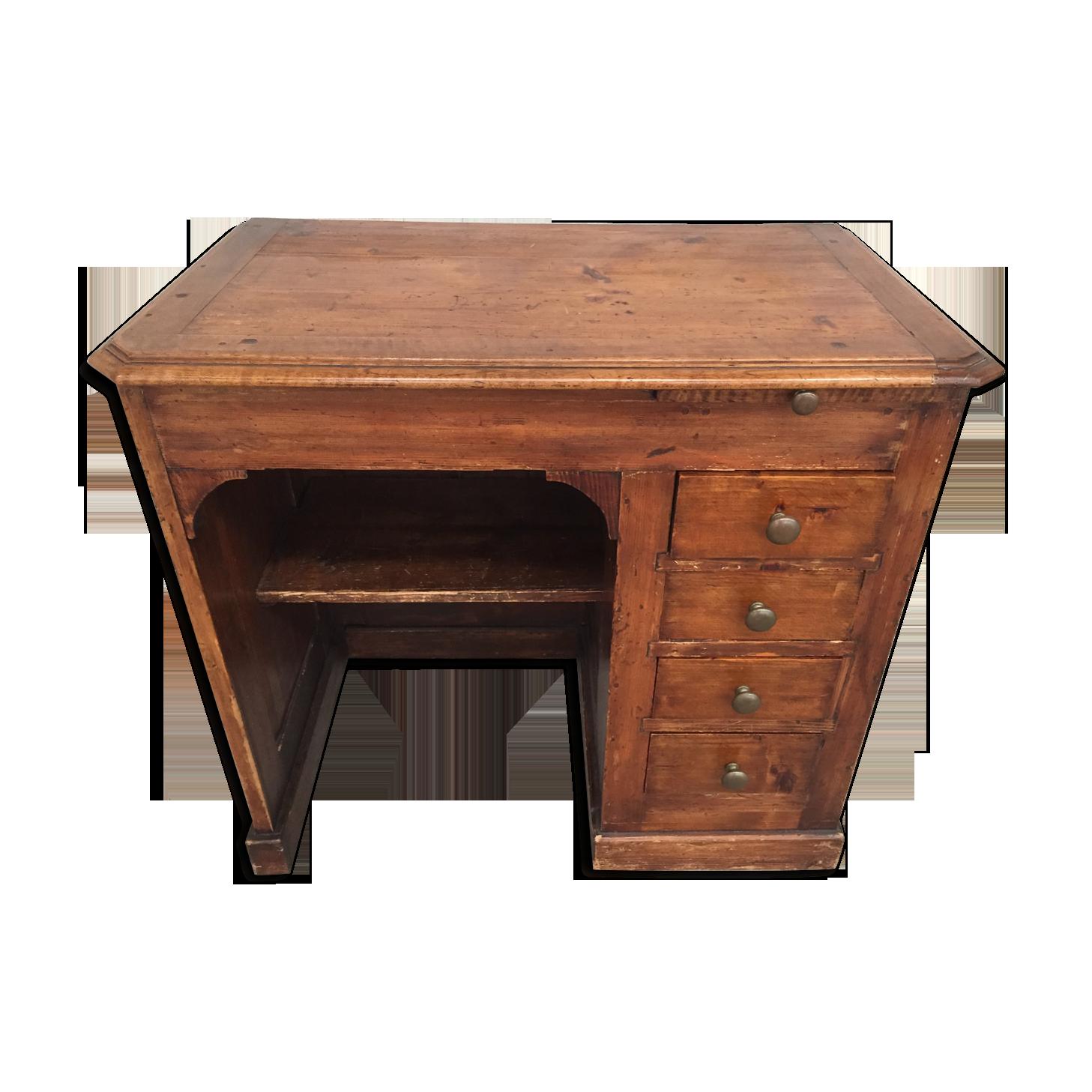 Joli petit bureau ancien bois matériau marron vintage