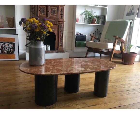 Table basse marbre et métal