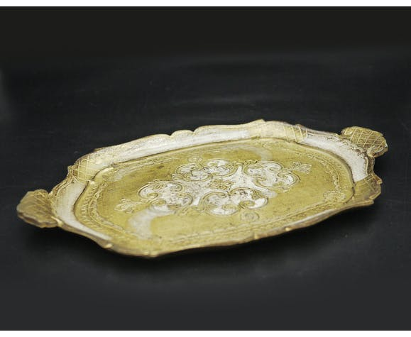 Florentine tray in resin painted in the hand with ornate handles